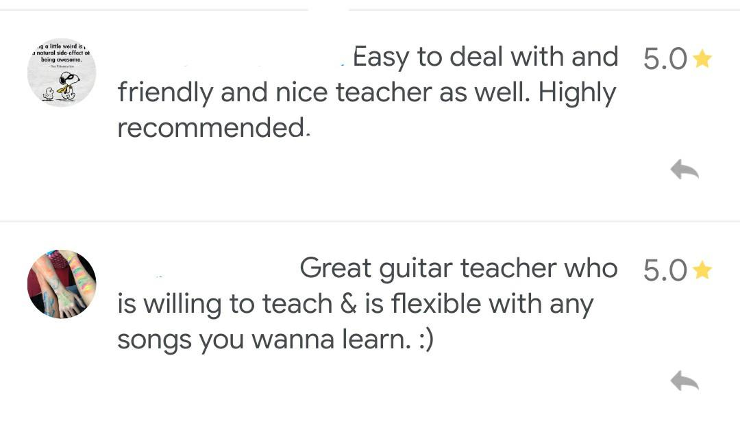 Private Guitar Classes - professional and affordable