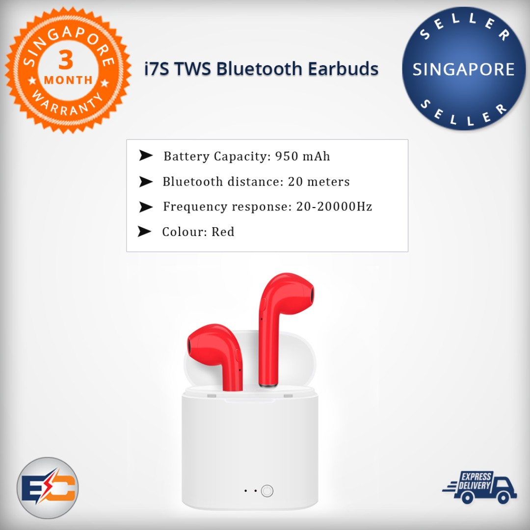 fcea60916a9 i7S TWS Bluetooth Earbuds (Red) - Knock-Off Ear Earpieces Earphones ...