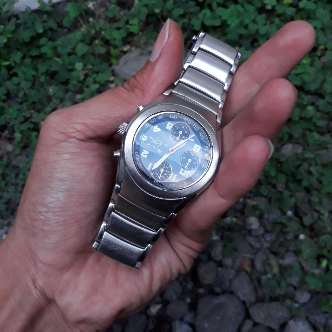 Jam Alexandre Christie Unisex Chronograph Fosfor Kaca Antigores