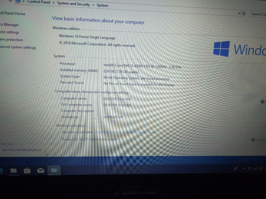 Laptop ASUS X450 spec in desc