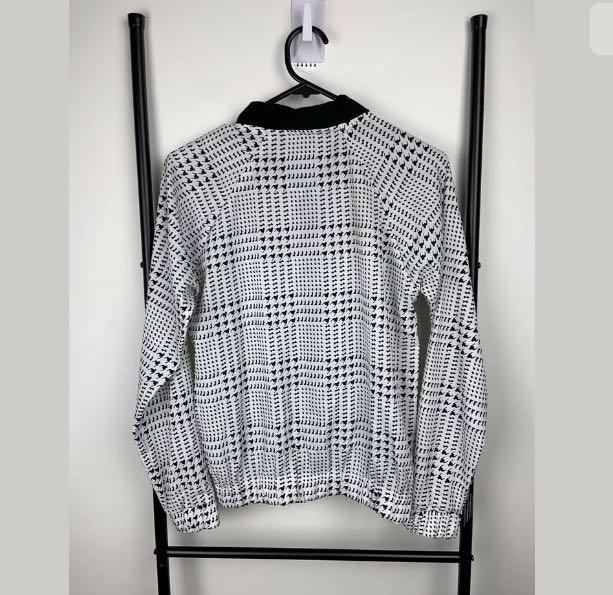 Lightweight bomber jacket sz XS/S semi sheer black white overlay top fashion
