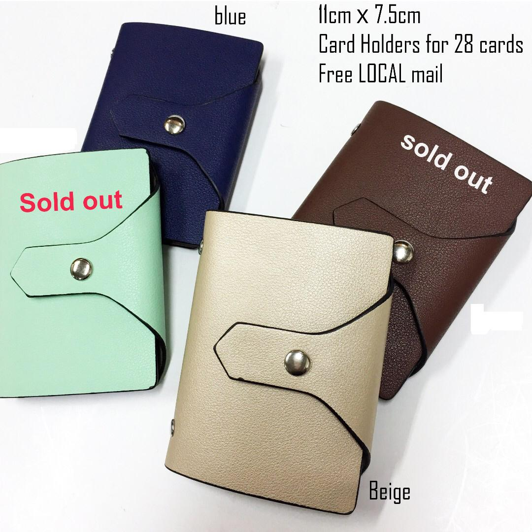 Matt Finishing Faux Leather-POCKET SIZE-Card Holders - Free Local Normal Mail [Only Beige & Dark Blue]