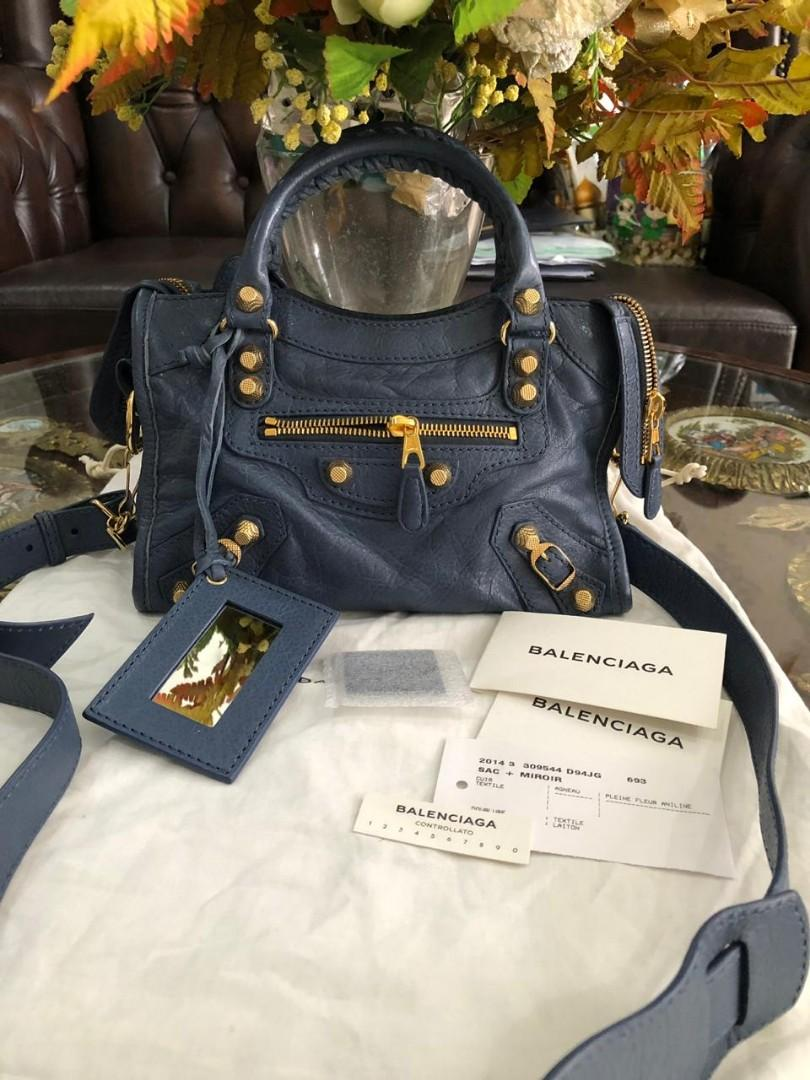 #mauthr Balenciaga Mini City Blue Ghw 2014 with db, Yearcard, controlato card, Card, sample leather, n mirror