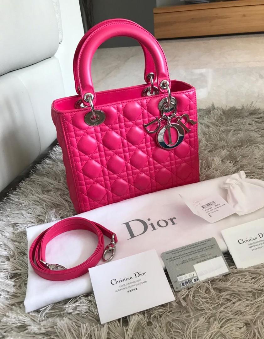 #mauthr Lady Dior Medium Fuchia SHW (Rings Sealed), with Card Nov 2013, DB, Strap, Booklet, Tag & White Small DB ||