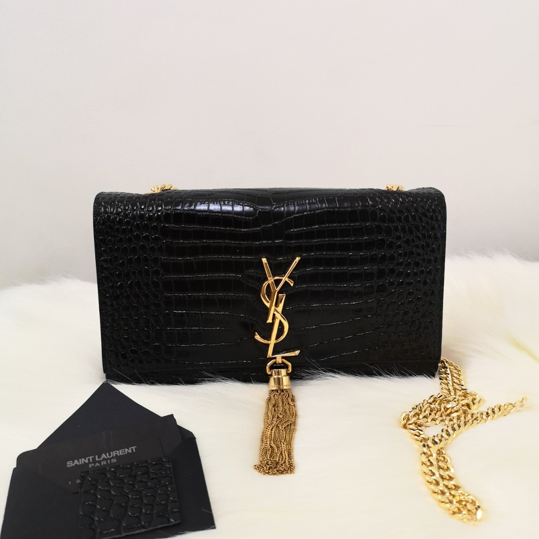 41461cfc62b ON HAND: Authentic Yves Saint-Laurent Kate Monogram Tassel Medium Croc  Leather Chain Shoulder Bag, Women's Fashion, Bags & Wallets on Carousell