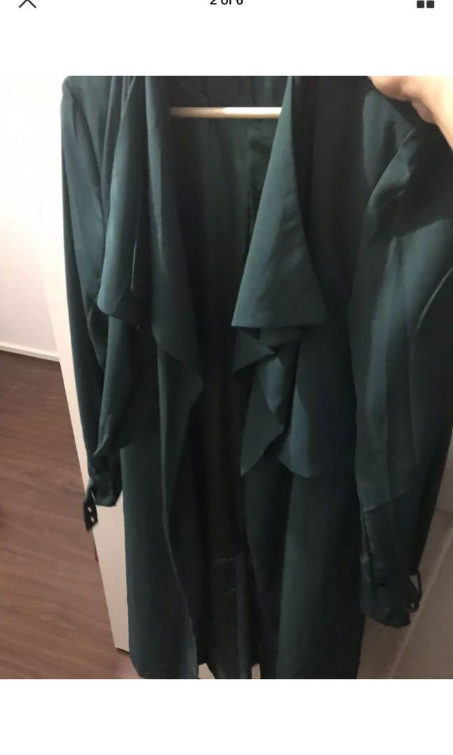 Pilgrim size 8 green trench gold details brand new