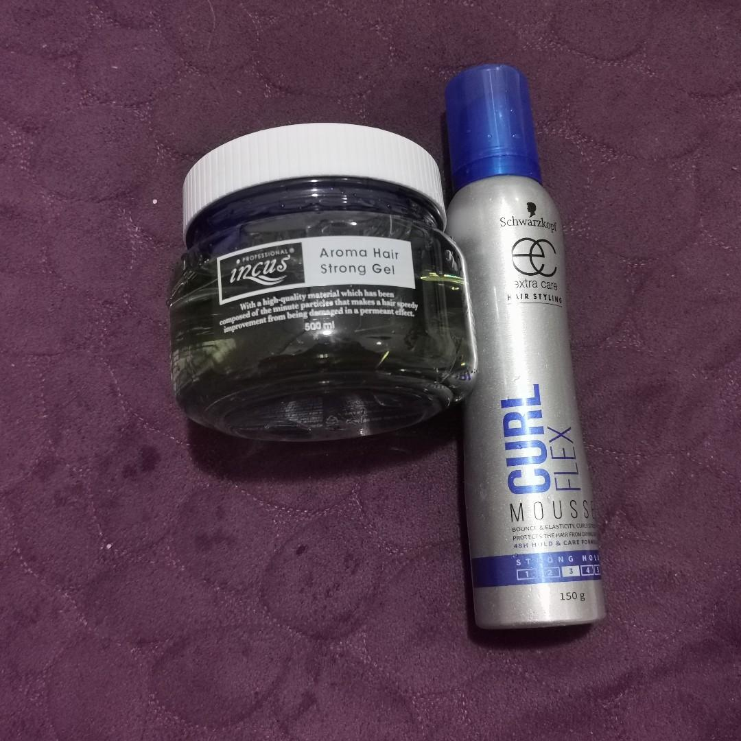 PROFESSIONAL SALON HAIR GEL & SCHWARZKOPF STYLING MOUSSE FOR CURLY HAIR