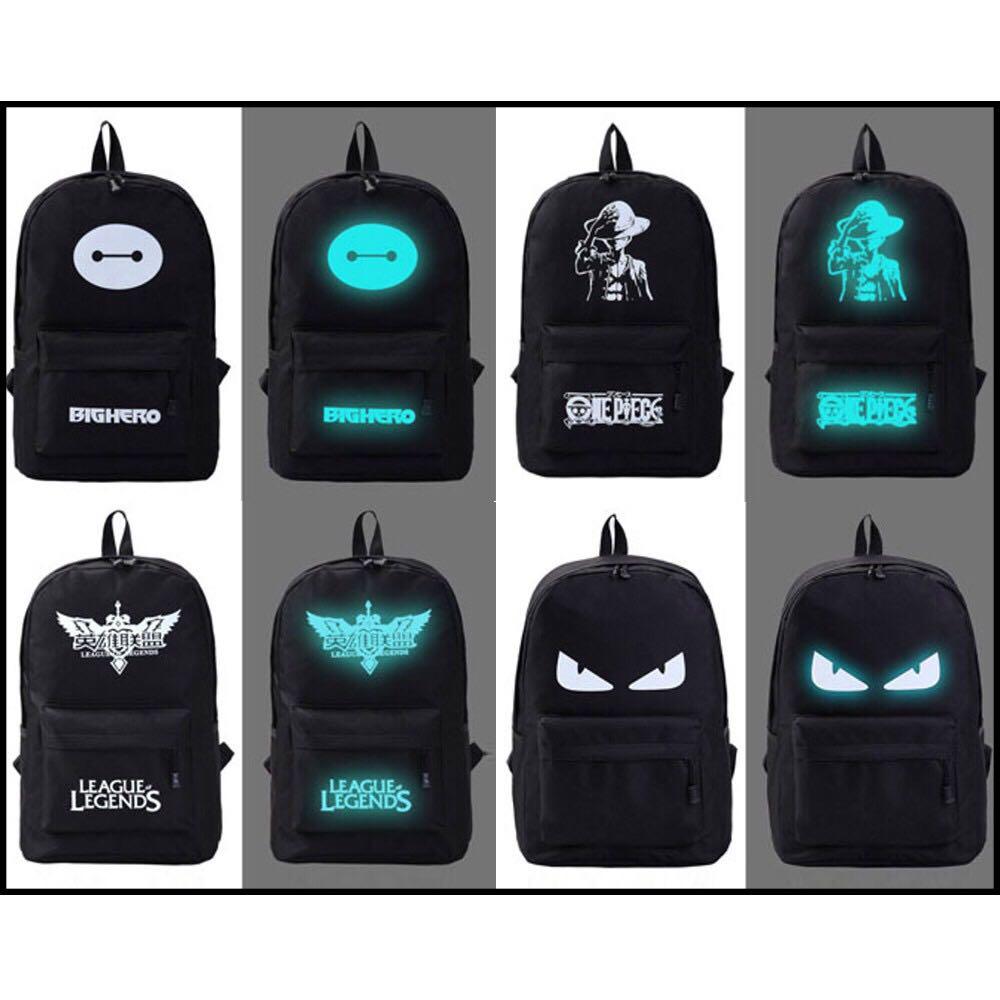 READY STOCK🎉GRIMO Glow In Dark Shoulder Backpack School Bags Beg Bag Women