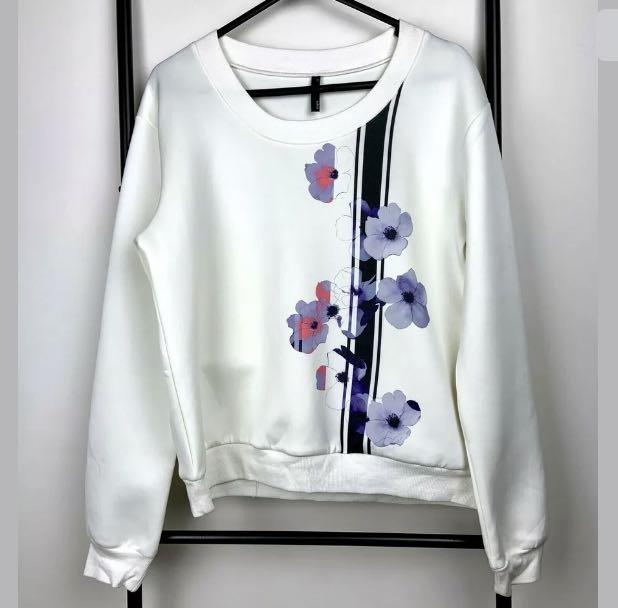 Staple The Label sz 10 white floral graphhic scuba top shirt jumper sweater