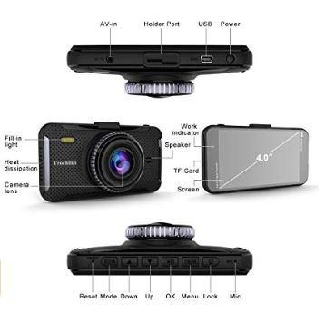 170 Degree Wide Car Trochilus Dual Dash Cam 4/' 1080P Front and Rear Dash Cams