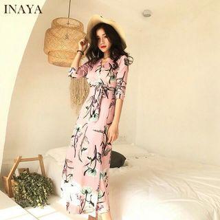 🔥ReaFloral Long Dress Women Dress Maxi Dresses V-collar Print Skirt  Pakaian Wanita Gaun Maxi