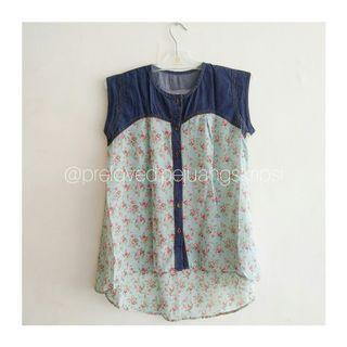Blus Blouse Flower Denim Jeans Atasan #mauthr