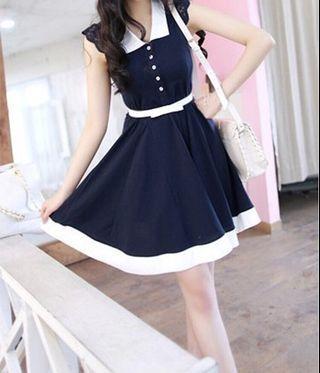 🚚 全新#韓版素色翻領連衣裙-不含腰帶