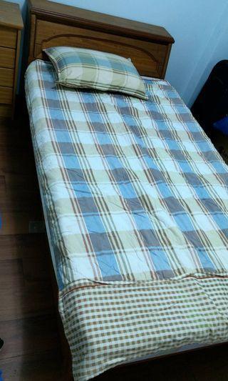 單人床組(床+床架+床頭櫃)