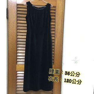 🚚 復古 黑色 連身 長版 晚宴 無袖 洋裝