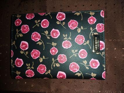 Preloved Kate Spade Passport Holder Neda Floral in Black and Rose Petal