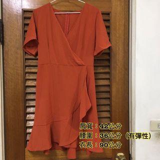 🚚 橘色 短袖 腰身彈性 洋裝