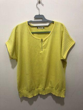 Front zip yellow blouse