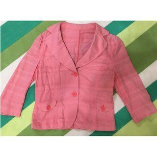 🚚 復古 粉紅 西裝 小外套