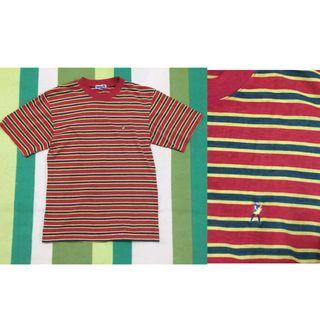 🚚 復古 紅綠黃 條紋 短袖 上衣