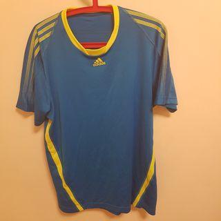 Adidas愛迪達 排汗衫 藍黃配色 XL