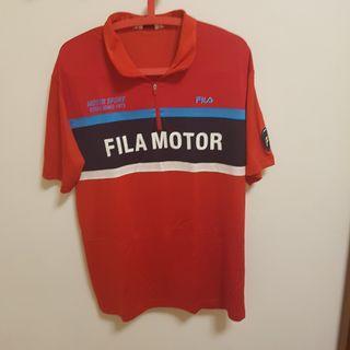 🚚 Fila 紅色POLO衫 XL