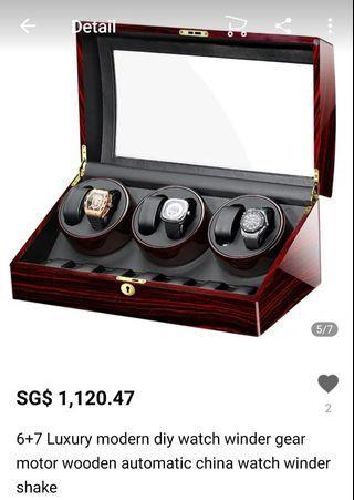 6+7 Luxury modern diy watch winder gear motor wooden automatic china watch winder shake