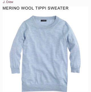 J Crew Light Blue Tippi Sweater 100% Merino Wool 三分袖淺藍色冷衫