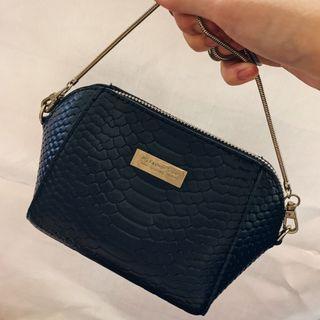 深藍色皮革斜背小包包