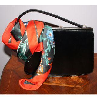Vintage black leather purse handbag by Paragon - 1960's -