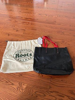 Brand new genuine roots leather tote bag