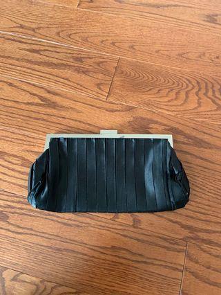 EUC black satin evening clutch or side bag