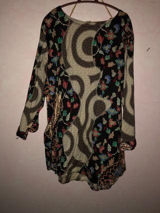 Black & Colorful Batik Motif Top