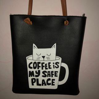Denim drawstrings bag & black cat illustration tote bag