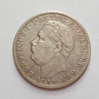 Portuguese India 1882 One Rupee Silver 2