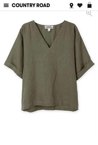 Country Road Khaki Linen Top