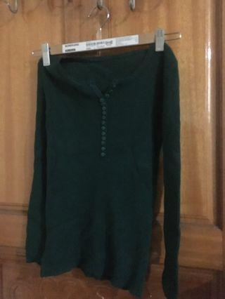 🚚 墨綠貼身長袖