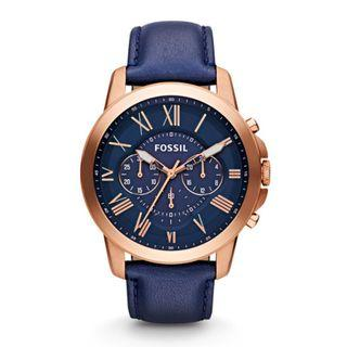 [Clearance] Fossil FS4835 Grant Chronograph Men's Blue Leather Strap Watch