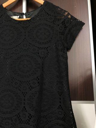 🚚 Black simple classy detailed dress