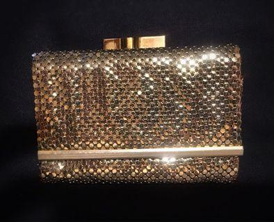 Vintage gold mesh metal purse