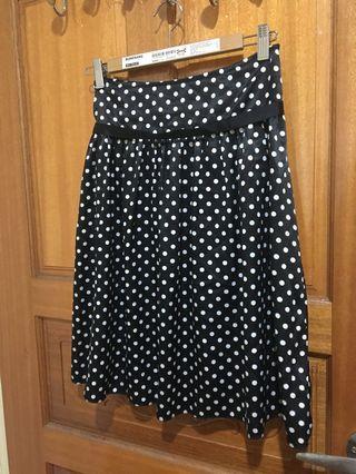 🚚 復古綁帶黑底白點裙