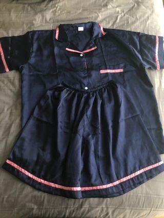 🚚 Brand New Plus Size Satin/Silky Pyjamas PJs Set Navy Blue