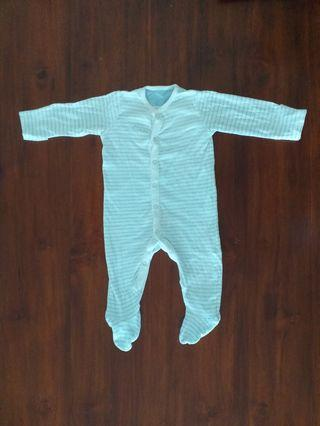 Mothercare blue stripes sleepsuit - 3 to 6 months