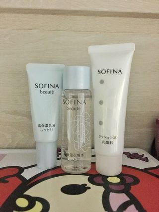 Sofina 高保濕 travel set (cleanser, toner, moisturizer)