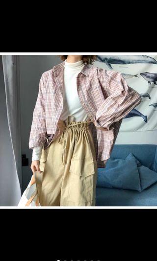 🚚 學院風寬鬆顯瘦百搭韓版粉格子襯衫外套