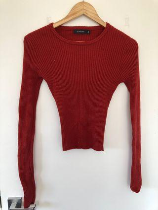 Red ribbed longsleeve