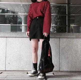 🚚 潮帥條紋oversize寬鬆長袖上衣 黑白 紅黑