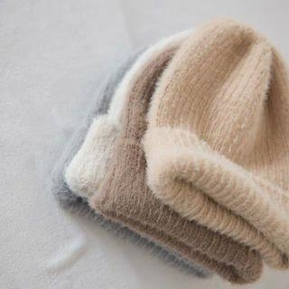 Winter fluffy cute knit beanie