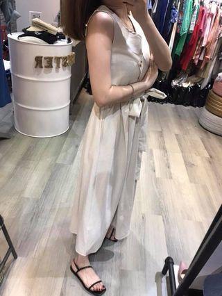正韓-小露腰麻料洋裝