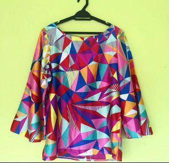 Colourful satin kurung kedah